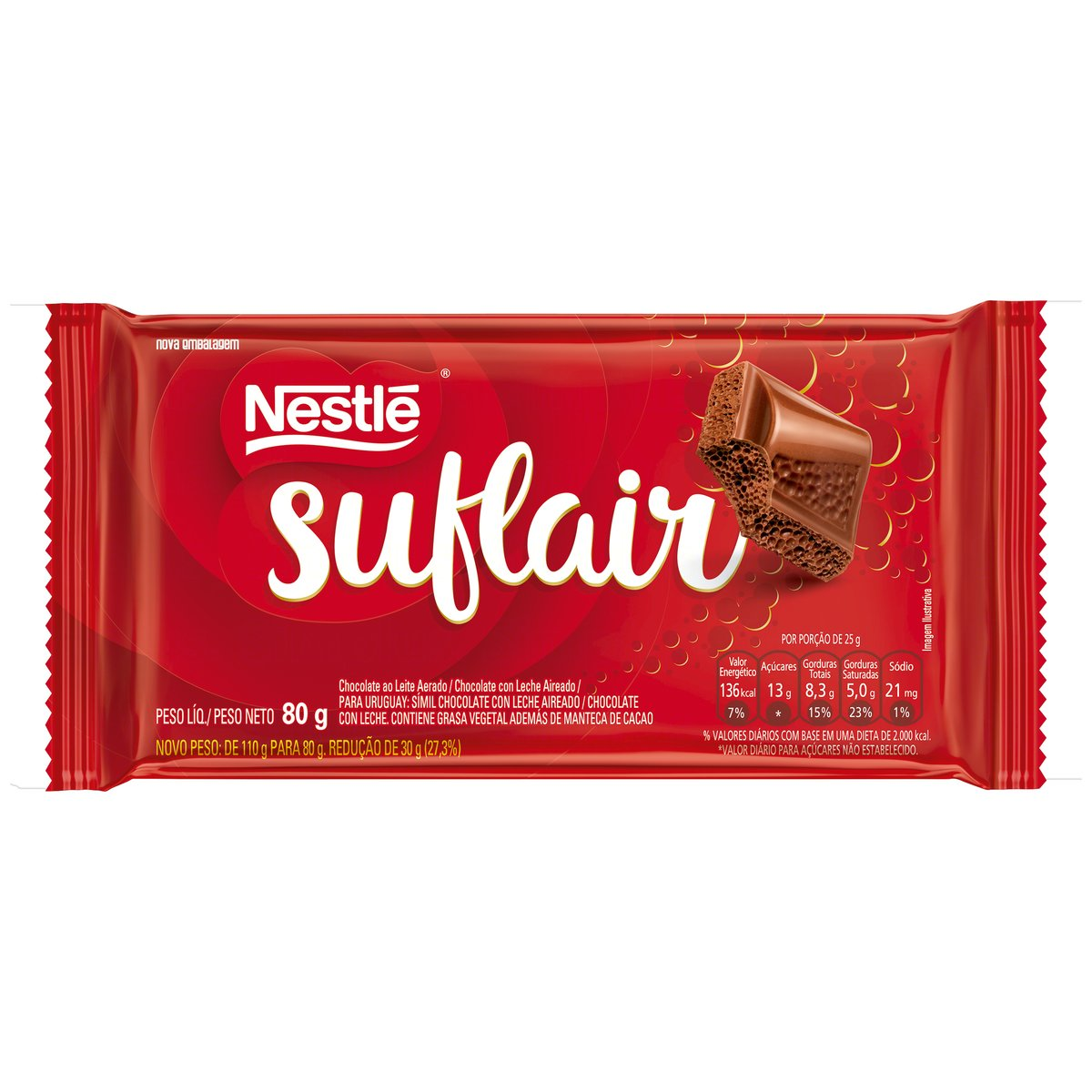 CHOCOLATE BARRA NESTLE SUFLAIR AO LEITE 80g