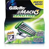 Carga GILLETTE Mach 3 Sensitive 2unid